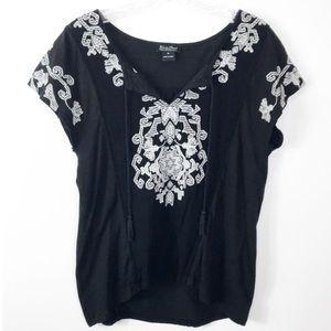 Lucky Brand Embroidered Tee-Shirt Flutter Sleeve M